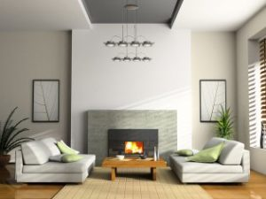 Fireplace in well furnished room