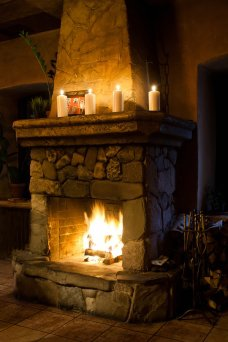 Burning Fireplace hearth