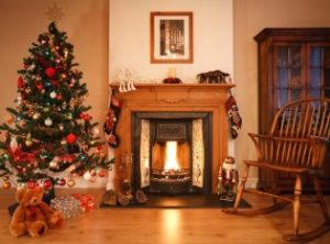 Fireplace with Christmas tree and gifts