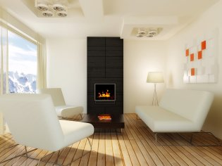 Fireplace with three white sofa around